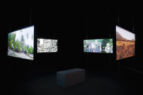 installation shot of 4 video projections