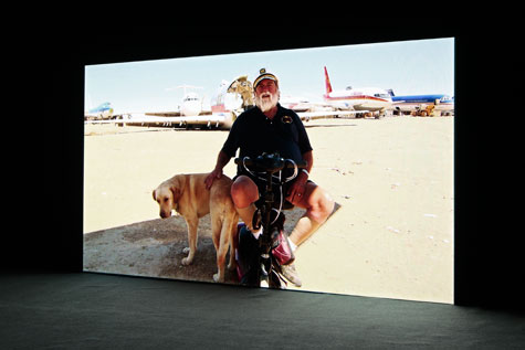old man and a dog in desert landscape with wreck of jumbo jet in background