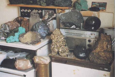 a collection of rocks in what looks like an old kitchen